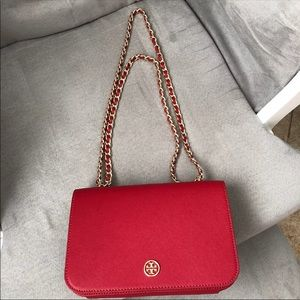 Tory Burch Vermillion Red Pebbled Leather Chain